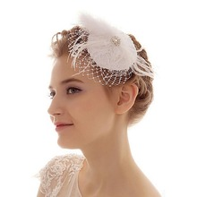white wedding accessories bridal feather headpiece