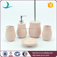 New fashion design 5pcs bathroom accessories with customized logo printing