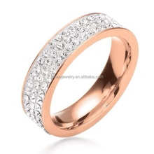 Vogue Jewelry Engagement Rings Custom Bling Pasted CZ Stone Ladies 316l Surgical Stainless Steel Ring