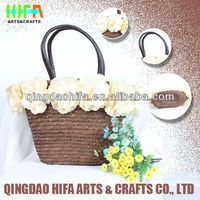 HIFA Wholesale Handmade Natural Flower Straw Beach Bag With Leather Handle