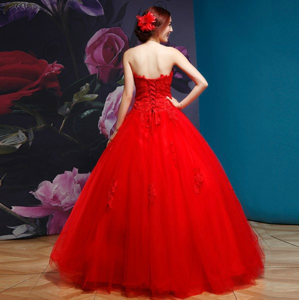 C82364A Noble A-line beaded side croset lace applique red wedding dress