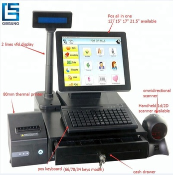 2018 Bezel free Retail pos system All In One POS for Bar and shop