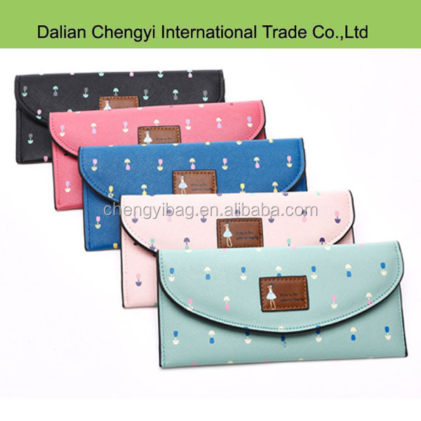 Popular cute young girls colorful ultrathin pu leather purse
