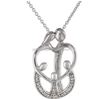 Stainless Steel Fashion Silver Parents and Three Children Family Diamond Pendant Necklace