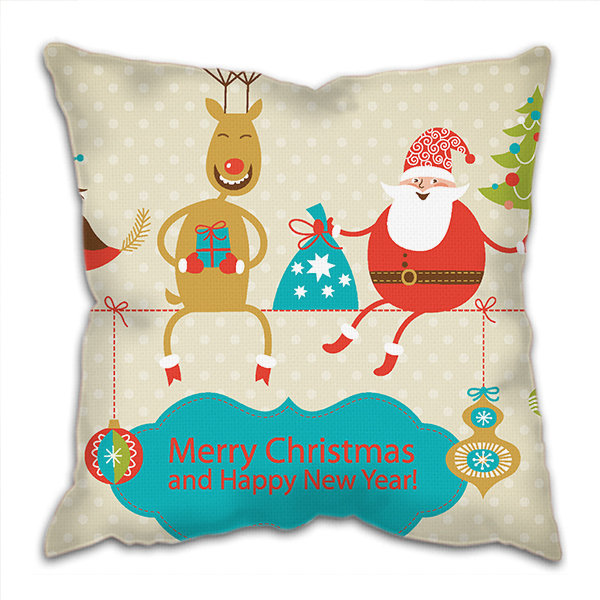 Christmas Theme polyester Linen Fabric Pillow Cover Fashion Home office Sofa Cushion Cover