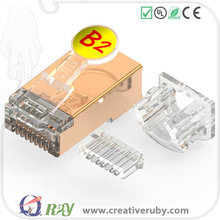 High quality cat5e/cat7/cat6 modular shielded rj45 plug with insert