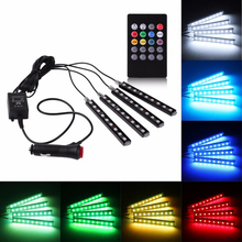 New Car 12V RGB Flexible Led Strip remote sound activated control Car Internal Interior Foot Atmosphere Light