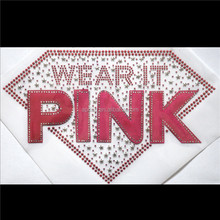Aprise - BREAST CANCER AWARENESS RHINESTONE IRON ON HEAT TRANSFER MOTIF