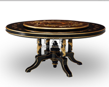 Italy Classic Carved High Gloss Veneer Antique Wooden Round Rotating Dining Table