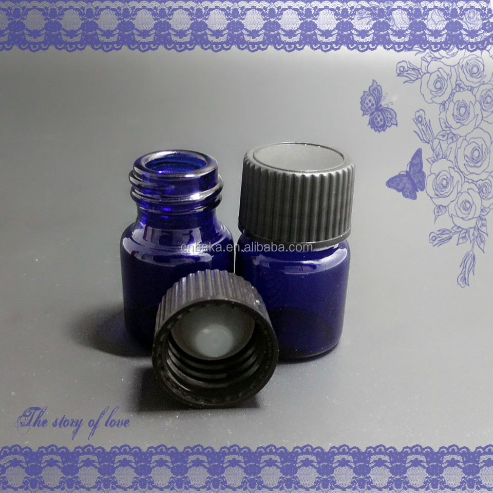 5ml-10ml cylinder cobalt blue tube glass essential oil bottle,screw small glass vial,glass sample bottle with 18mm plastic cap