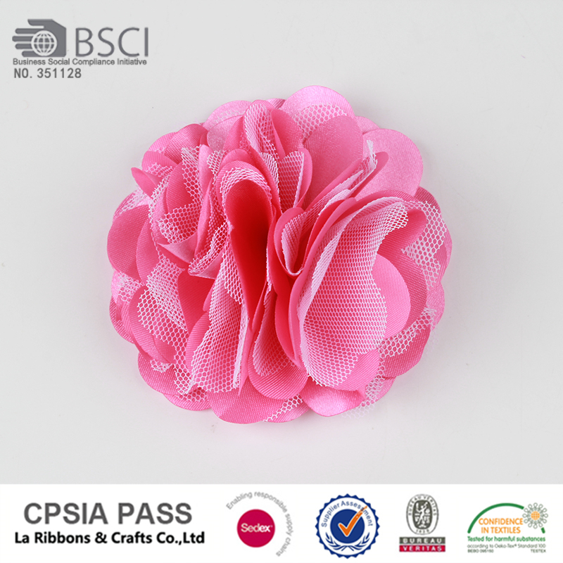 mesh flower satin flower pink flower for garment