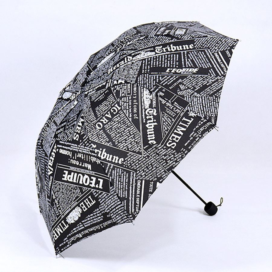 2016 Creative English newspaper UV Sunny and Rainy Umbrella folding umbrella personalized ads three folding