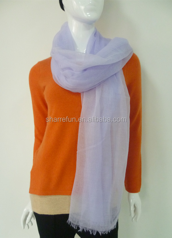 Pure thin lady spring wearing woven cashmere scarf shawl