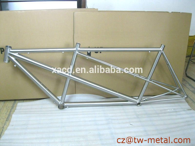 Titanium tandem bicycle frame titanium road bike frame with double top tube