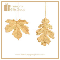 Gold Resin Christmas Hanging Leaf Ornaments Wholesale