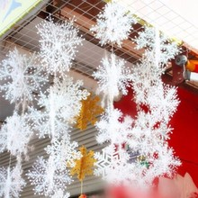 3D Christmas Ornament 120pcs/lot White Plastic Christmas Snowflake Christmas 6*6cm Tree /Window Christmas Decorations For Home