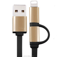 high quality metal mobile phone 2 In 1 Sync Data charger cable USB flat noodle Cable for iPhone and V8 smart phone