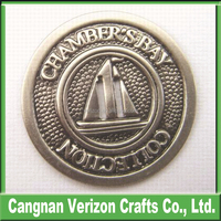 Custom 3d sterling silver plating sailboat commemorative coins