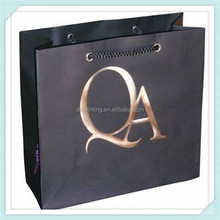 Log gold foiled factory directly custom high end gift paper bag for clothing with ribbon string