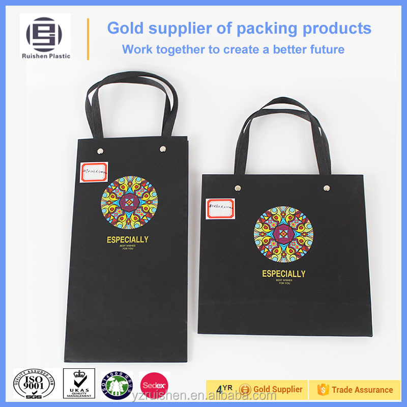 High quality customized black paper bag with loop handles for wine or gift