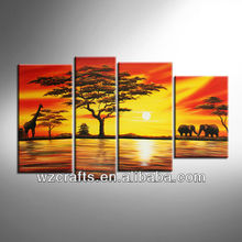 African Natural Scenery Group Oil Painting