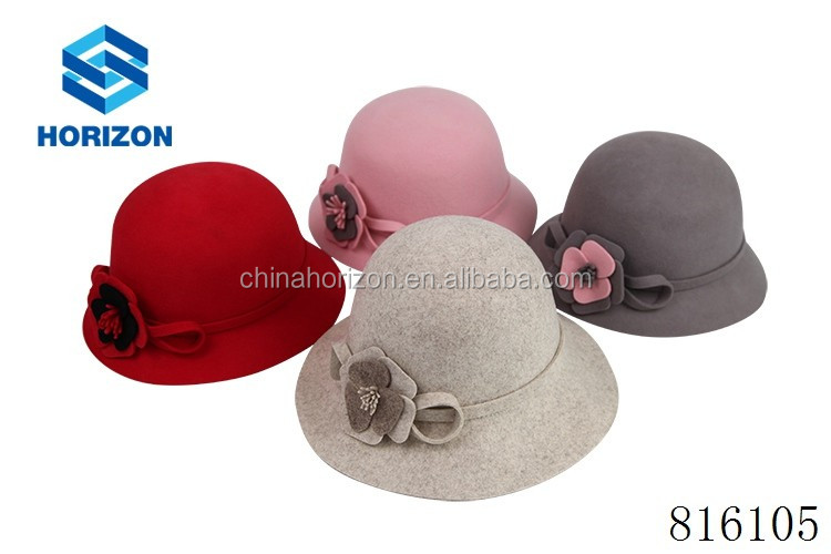 hat cloche lady hat wool felt bucket hat