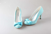 BS885 custom handmade light blue lace bowtie party shoes bridal wedding shoes