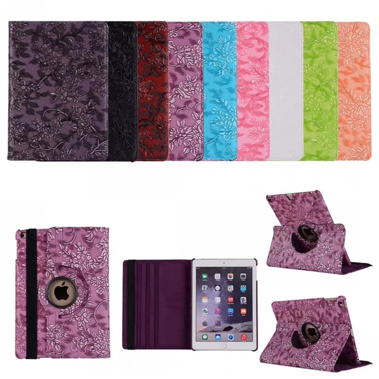 Grape Flower Smart Pu Leather 360 Degree Rotating Cover Stand Tablet Case for <strong>iPad</strong> 9.7 2018 2017 New