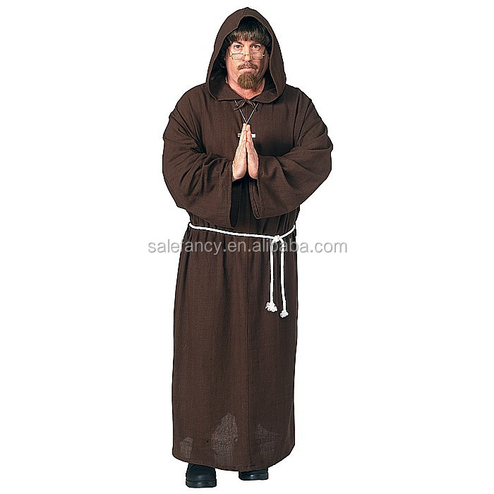Medival Monk Friar Tuck Halloween Party Mens Fancy Dress plus size carnival costume QAMC-2248