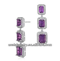 Amethyst Emerald Cut Halo Drop Earrings cheap casting antique 925 sterling silver jewelry
