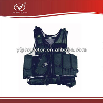 Deluxe Multifunctional Tactical BULLETPROOF VEST Swat Paintball AIRSOFT Police Black Left Handed Holster