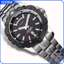 Men's Watch Stainless Steel Back Japan Movt Wrist Watch Diver 100atm Waterproof