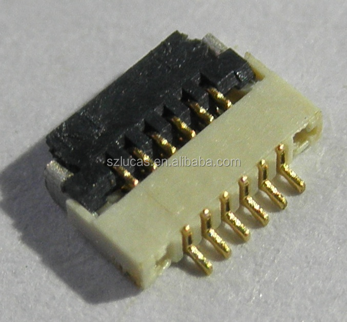 0.5MM PITCH 1.0H 6PIN ZIF FRONT FLIP BOTTOM CONTACT SMT FPC CONNECTOR FOR PANEL DISPLAY