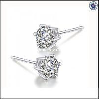 Classic six prongs 925 Sterling Silver Earring With Butterfly Back wholesale