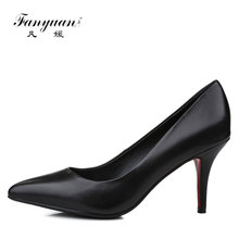 2018 China Factory wholesale beautiful genuine leather pumps women stilettos high heel shoes