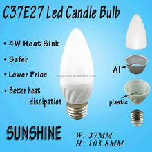 Candle Led Bulb Parts with Plastic Aluminium Housing and PC Cover