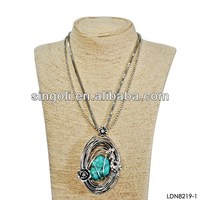 2014 large turquoise stone pendant necklace with double strand chain in antique bronze plating