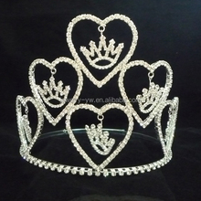 Heart pink rthinestone cheap wholesale big pageant crown for sale