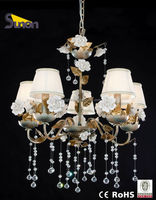 2014 new wrought iron frame ceramic flowers decorative glass drop indoor chandelier