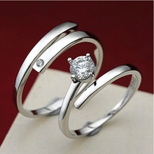 Fashion Luxury Couple Jewelry Simple Style Platinum Plated Open Cuff Lovers Couple Rings Wholesale For Women And Man