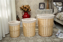 natural wood chip laundry hamper, home laundry hamper, storage hamper basket with wicker material and liner