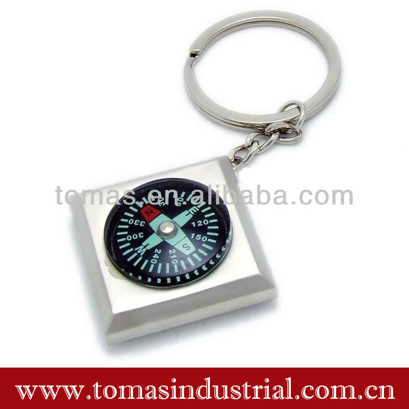 Promotional hot sale square shaped mini compass metal keychains