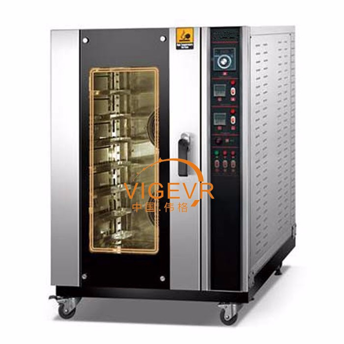 All Stainless Steel Digital Thermostat Auto Steam Hot Air Commercial Convection Electric Bread Bakery Oven with 10 Trays