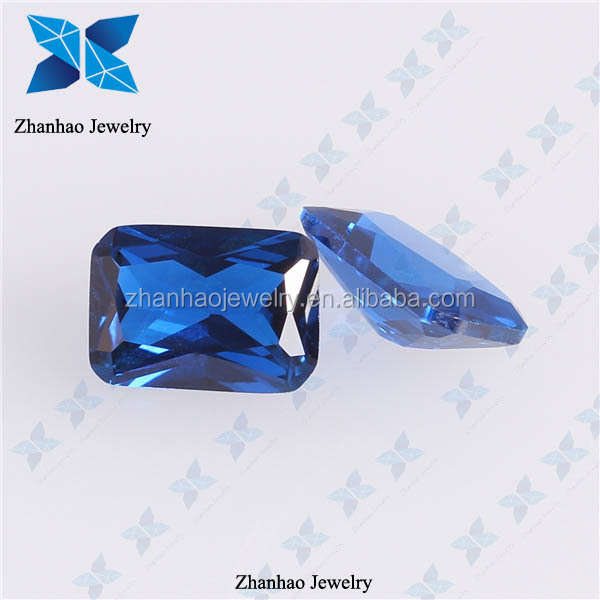 wholesale price artificial blue colored octangle spinel bead