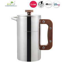 Wood French Press Coffee Maker,1L double wall french press Pot with Walnut Handle and lid