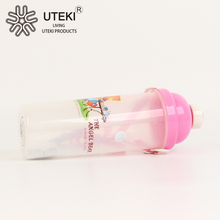 Plastic sport water bottle with sipper straw cap