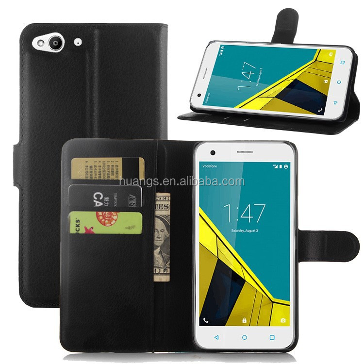 Mobile accessories lychee pu leather case with wallet and card slots for Vodafone Smart ultra 6 case alibaba china