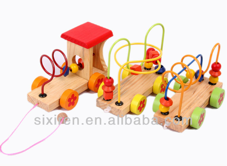 popular child three round bead car/wooden toy car