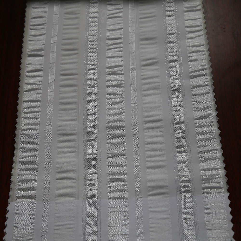 Custom made Turkey 100% polyester stripe jacquard transparent organza curtain for door drape