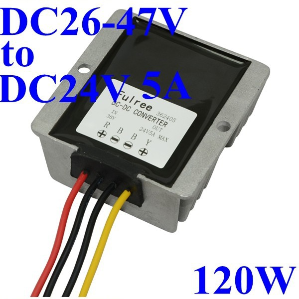 dc dc buck coverter 36v to 24v 5A 10Amax full power 120W voltage regulator/transformer/adpater for led lamp, Monitor,fan,solar